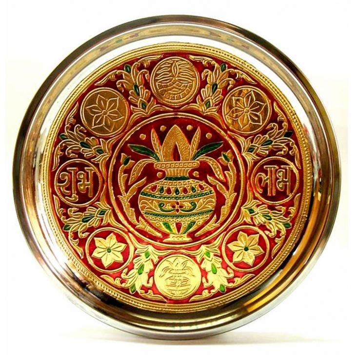 Ratna Handicrafts Kalash Meenakari Thali